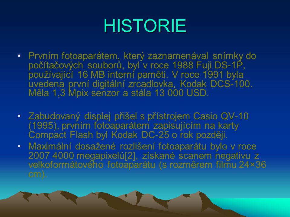 HISTORIE Prvním fotoaparátem, který zaznamenával snímky do počítačových souborů, byl v roce 1988 Fuji DS-1P, používající 16 MB interní paměti.