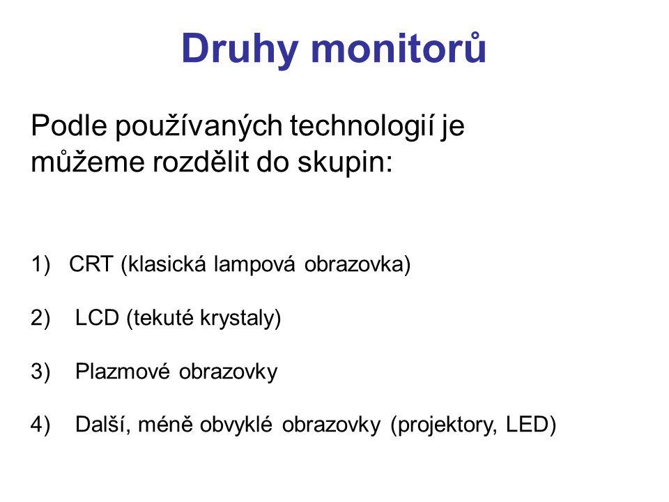 Druhy monitorů Podle používaných technologií je můžeme rozdělit do skupin: 1) CRT (klasická lampová obrazovka) 2) LCD (tekuté krystaly) 3) Plazmové ob