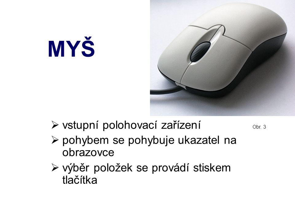 Části myši  jedno či více tlačítek  jedno či více koleček  ze spodní strany zařízení snímající pohyb  novější myši bývají ergonomicky tvarované (!!!POZOR – nemoci z nadměrného používání myší)