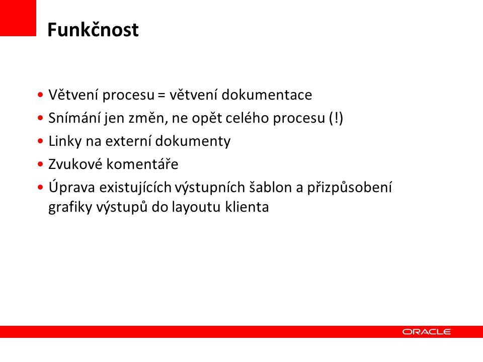 Funkčnost Větvení procesu = větvení dokumentace Snímání jen změn, ne opět celého procesu (!) Linky na externí dokumenty Zvukové komentáře Úprava exist