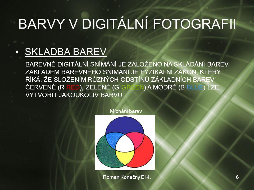 Roman Konečný EI 4.6 BARVY V DIGITÁLNÍ FOTOGRAFII SKLADBA BAREV BAREVNÉ DIGITÁLNÍ SNÍMÁNÍ JE ZALOŽENO NA SKLÁDÁNÍ BAREV.