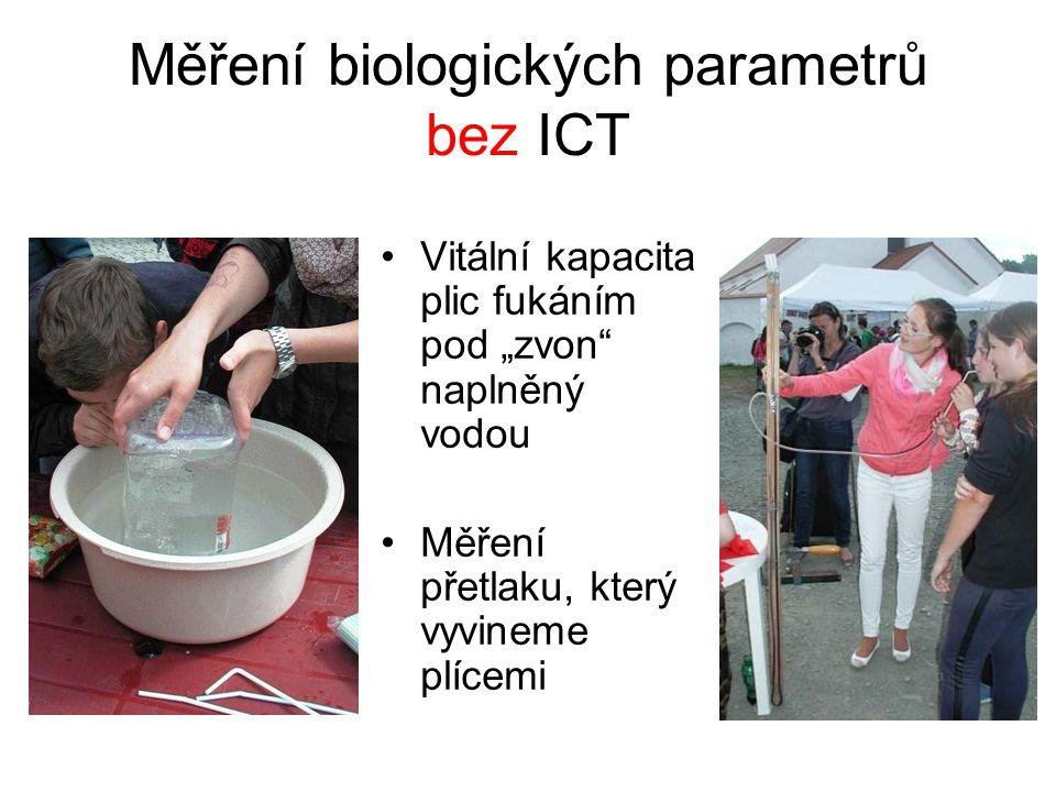 """Měření biologických parametrů bez ICT Vitální kapacita plic fukáním pod """"zvon naplněný vodou Měření přetlaku, který vyvineme plícemi"""