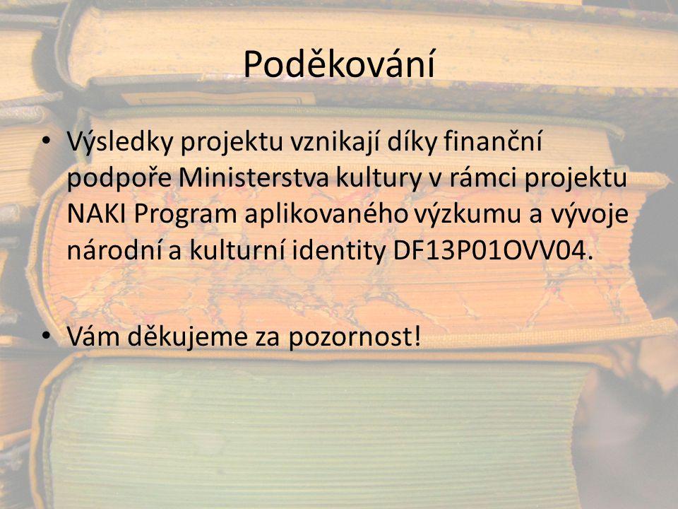 Poděkování Výsledky projektu vznikají díky finanční podpoře Ministerstva kultury v rámci projektu NAKI Program aplikovaného výzkumu a vývoje národní a