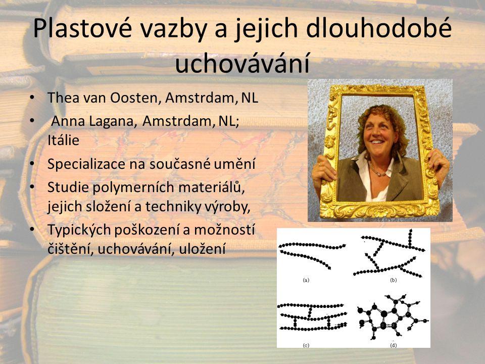 Plastové vazby a jejich dlouhodobé uchovávání Thea van Oosten, Amstrdam, NL Anna Lagana, Amstrdam, NL; Itálie Specializace na současné umění Studie po