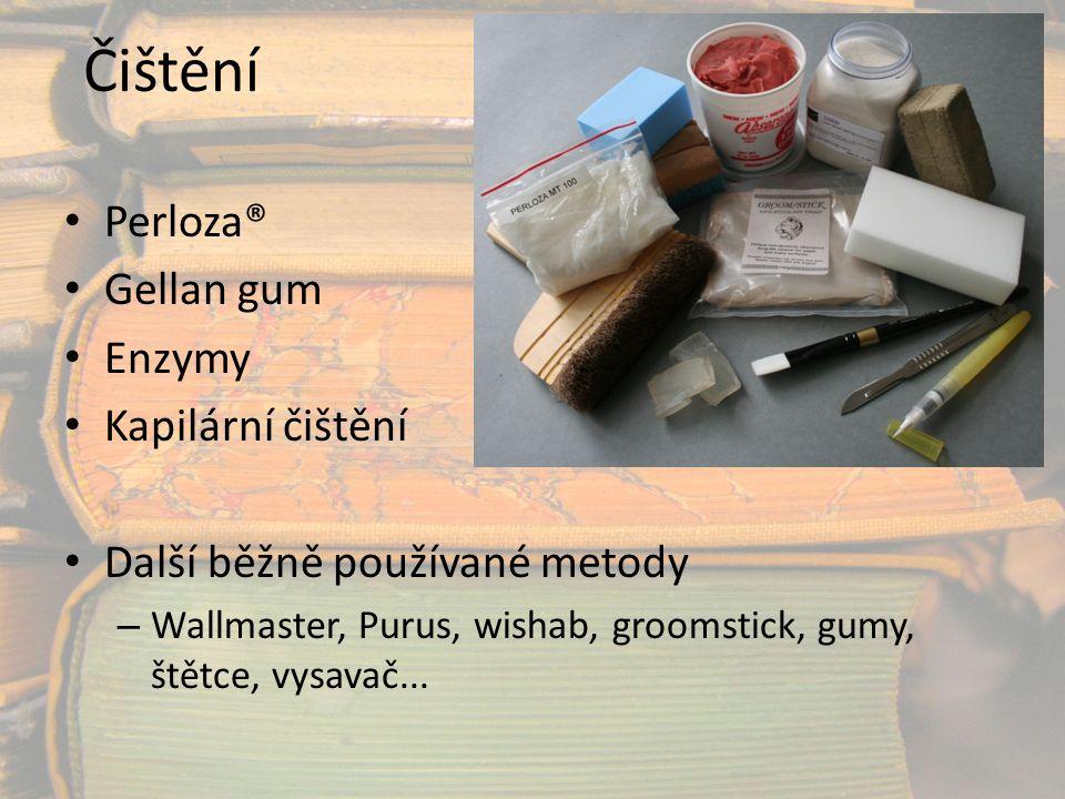 Čištění Perloza® Gellan gum Enzymy Kapilární čištění Další běžně používané metody – Wallmaster, Purus, wishab, groomstick, gumy, štětce, vysavač...