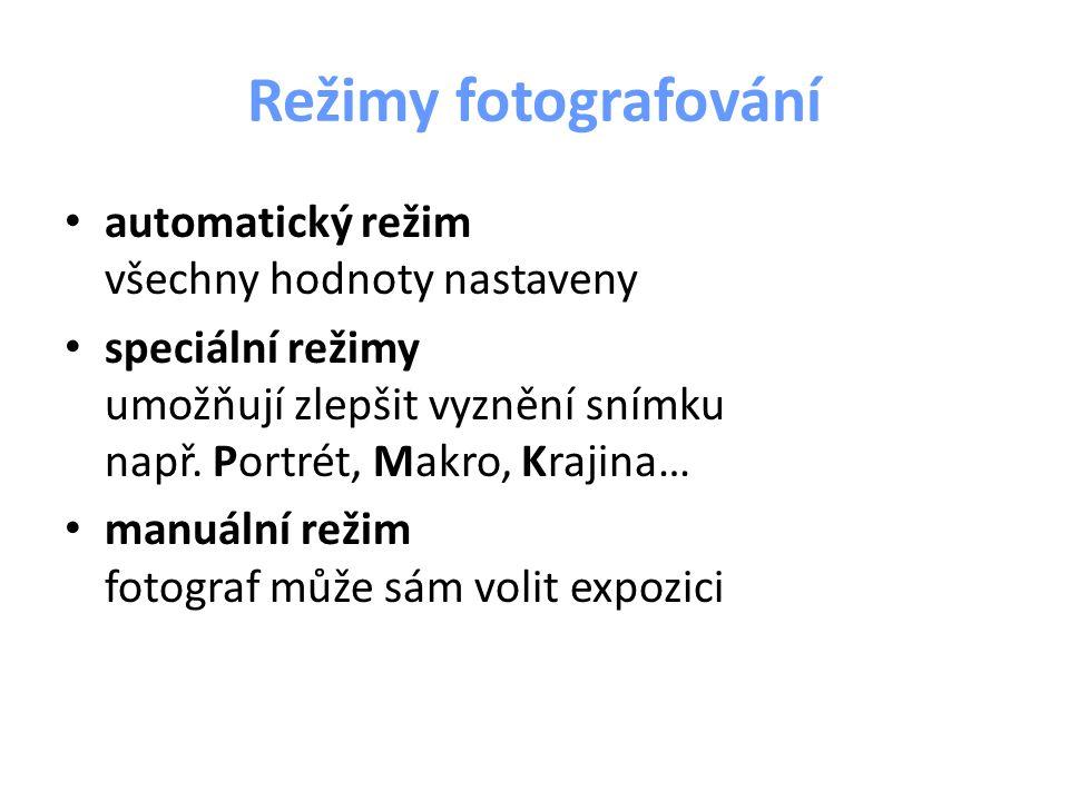 automatický režim všechny hodnoty nastaveny speciální režimy umožňují zlepšit vyznění snímku např. Portrét, Makro, Krajina… manuální režim fotograf mů