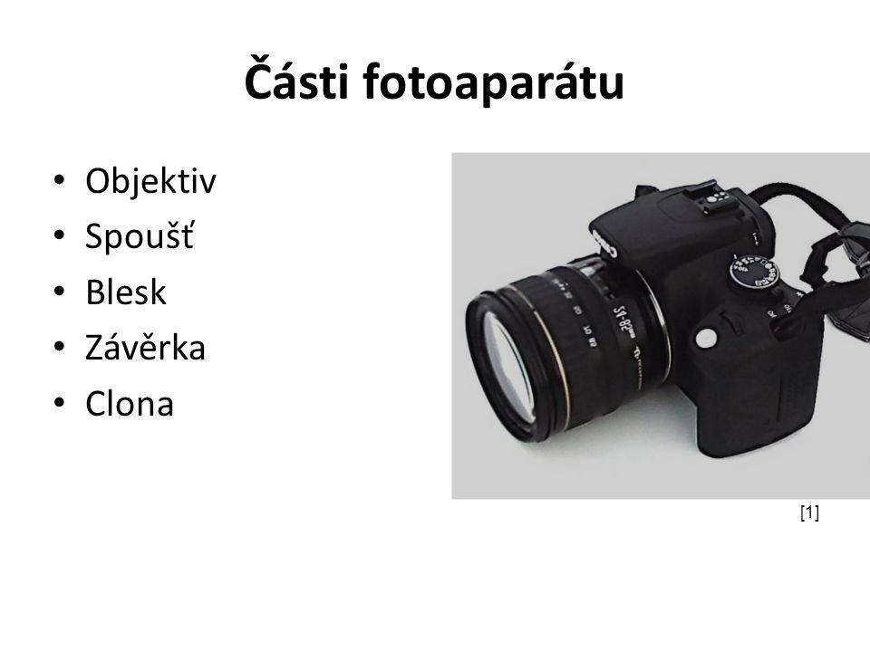 Části fotoaparátu Objektiv Spoušť Blesk Závěrka Clona [1]
