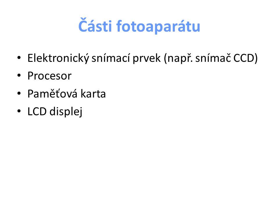 Části fotoaparátu Elektronický snímací prvek (např. snímač CCD) Procesor Paměťová karta LCD displej