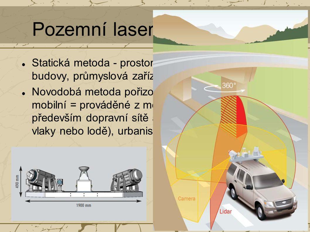 Pozemní laserové skenování Statická metoda - prostorově složité objekty - budovy, průmyslová zařízení, tunely apod.