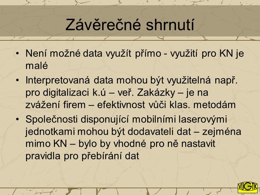 Závěrečné shrnutí Není možné data využít přímo - využití pro KN je malé Interpretovaná data mohou být využitelná např.