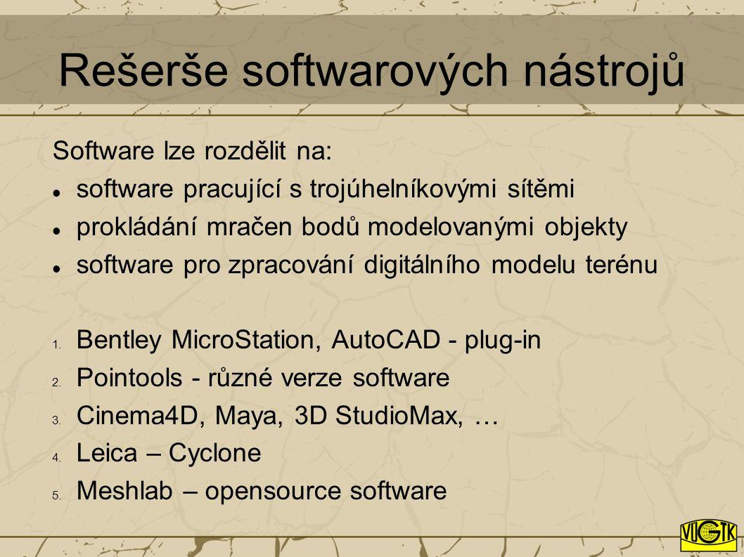 Rešerše softwarových nástrojů Software lze rozdělit na: software pracující s trojúhelníkovými sítěmi prokládání mračen bodů modelovanými objekty software pro zpracování digitálního modelu terénu 1.
