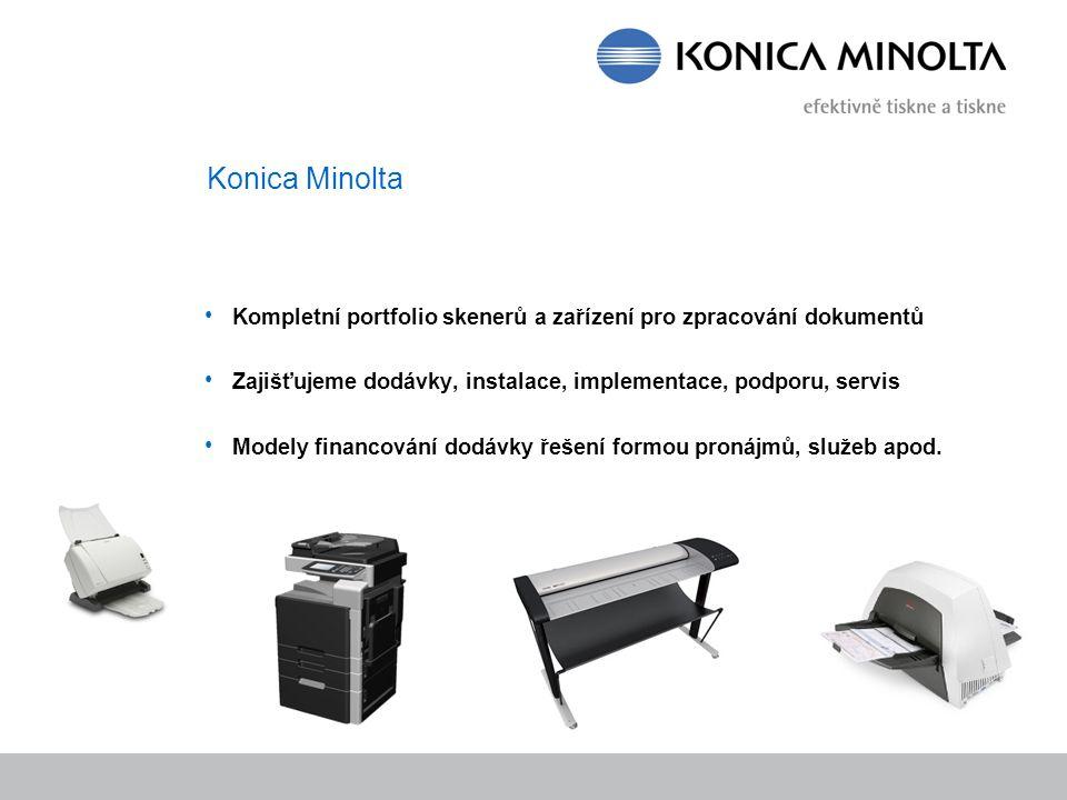 Konica Minolta Kompletní portfolio skenerů a zařízení pro zpracování dokumentů Zajišťujeme dodávky, instalace, implementace, podporu, servis Modely fi