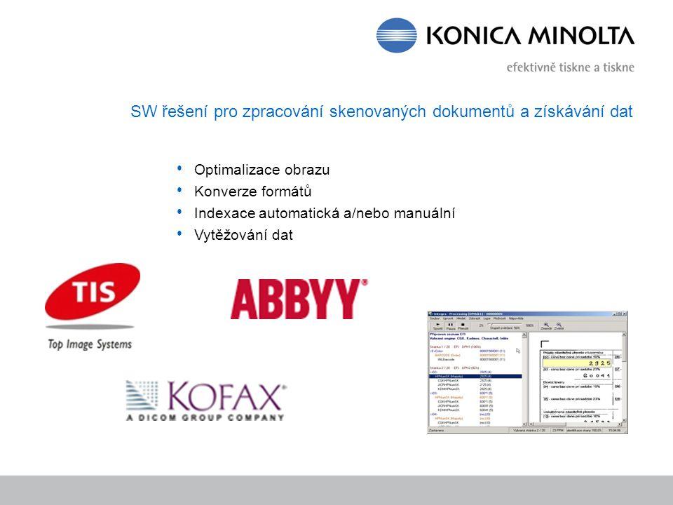 SW řešení pro zpracování skenovaných dokumentů a získávání dat Optimalizace obrazu Konverze formátů Indexace automatická a/nebo manuální Vytěžování da