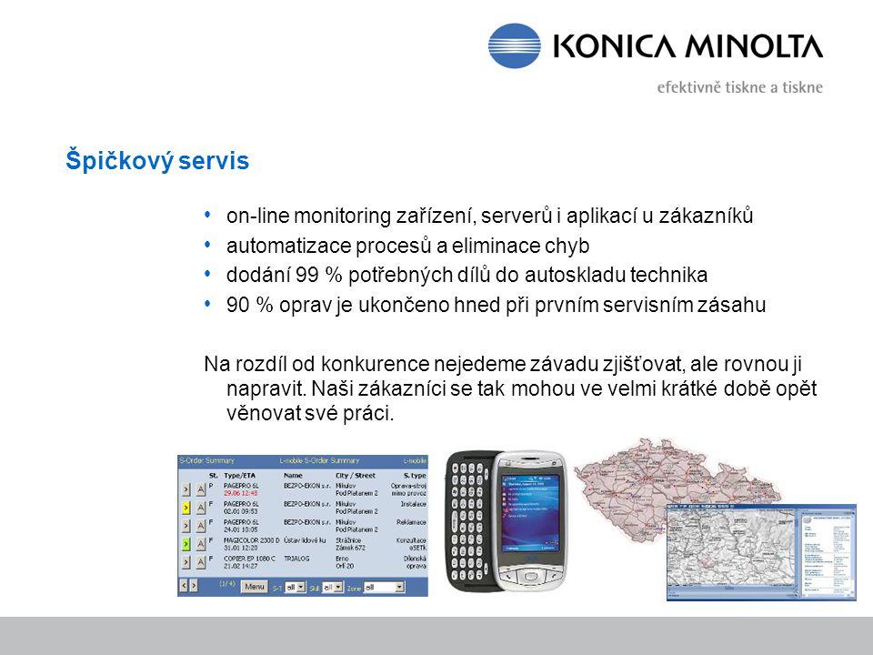 Špičkový servis on-line monitoring zařízení, serverů i aplikací u zákazníků automatizace procesů a eliminace chyb dodání 99 % potřebných dílů do autos
