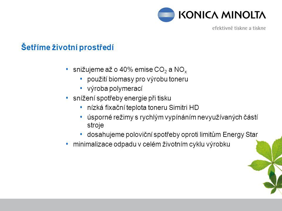 Šetříme životní prostředí snižujeme až o 40% emise CO 2 a NO x použití biomasy pro výrobu toneru výroba polymerací snížení spotřeby energie při tisku