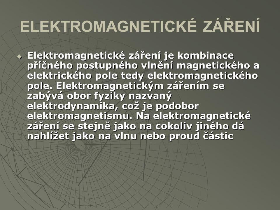 ELEKTROMAGNETICKÉ ZÁŘENÍ  Elektromagnetické záření je kombinace příčného postupného vlnění magnetického a elektrického pole tedy elektromagnetického