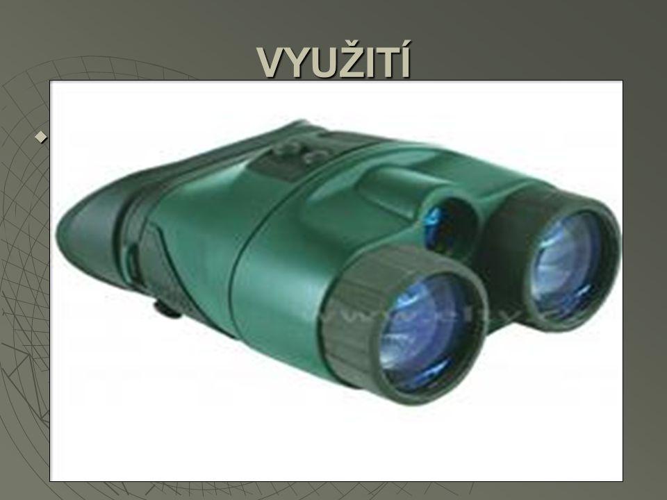  Infračerveného záření se využívá např. v noktovizorech. Noktovizor je zařízení zesilující zbytkové světlo. Používá se zejména pro vojenské účely neb
