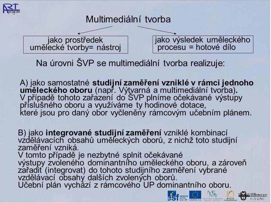 Na úrovni ŠVP se multimediální tvorba realizuje: A) jako samostatné studijní zaměření vzniklé v rámci jednoho uměleckého oboru (např. Výtvarná a multi