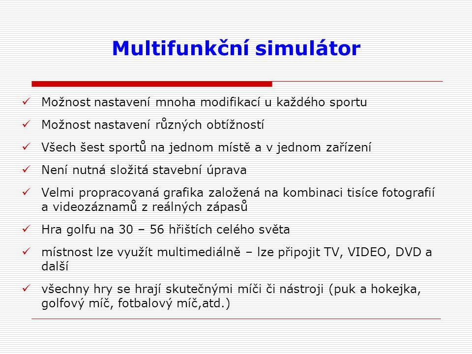 Multifunkční simulátor Možnost nastavení mnoha modifikací u každého sportu Možnost nastavení různých obtížností Všech šest sportů na jednom místě a v jednom zařízení Není nutná složitá stavební úprava Velmi propracovaná grafika založená na kombinaci tisíce fotografií a videozáznamů z reálných zápasů Hra golfu na 30 – 56 hřištích celého světa místnost lze využít multimediálně – lze připojit TV, VIDEO, DVD a další všechny hry se hrají skutečnými míči či nástroji (puk a hokejka, golfový míč, fotbalový míč,atd.)