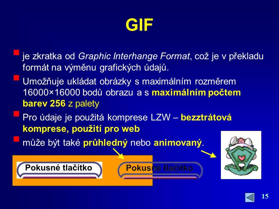 15 GIF  je zkratka od Graphic Interhange Format, což je v překladu formát na výměnu grafických údajů.  Umožňuje ukládat obrázky s maximálním rozměre