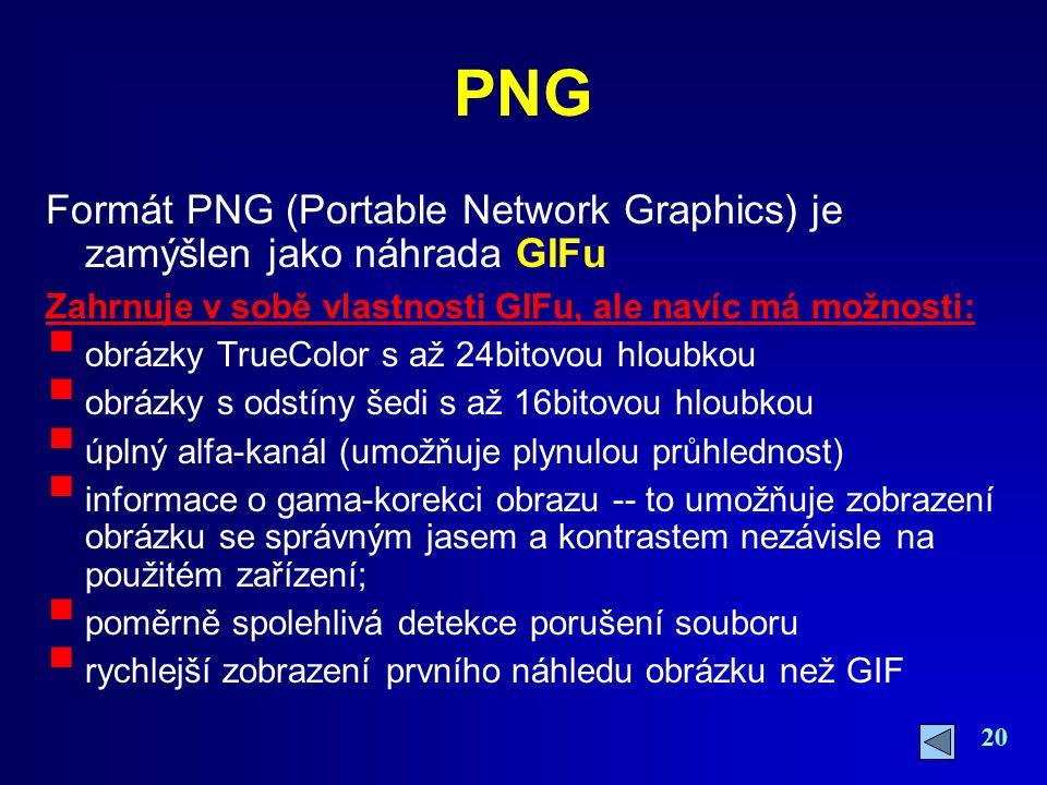 20 PNG Formát PNG (Portable Network Graphics) je zamýšlen jako náhrada GIFu Zahrnuje v sobě vlastnosti GIFu, ale navíc má možnosti:  obrázky TrueColo