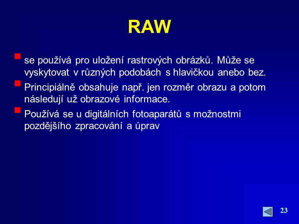 23 RAW  se používá pro uložení rastrových obrázků. Může se vyskytovat v různých podobách s hlavičkou anebo bez.  Principiálně obsahuje např. jen roz