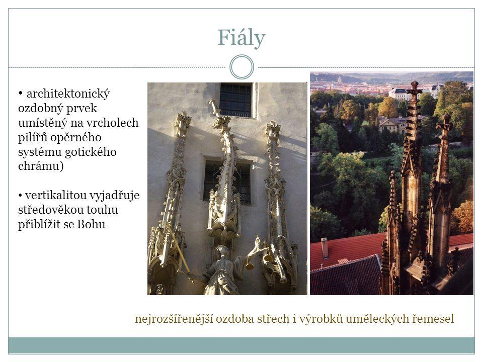 architektonický ozdobný prvek umístěný na vrcholech pilířů opěrného systému gotického chrámu) vertikalitou vyjadřuje středověkou touhu přiblížit se Bohu nejrozšířenější ozdoba střech i výrobků uměleckých řemesel Fiály