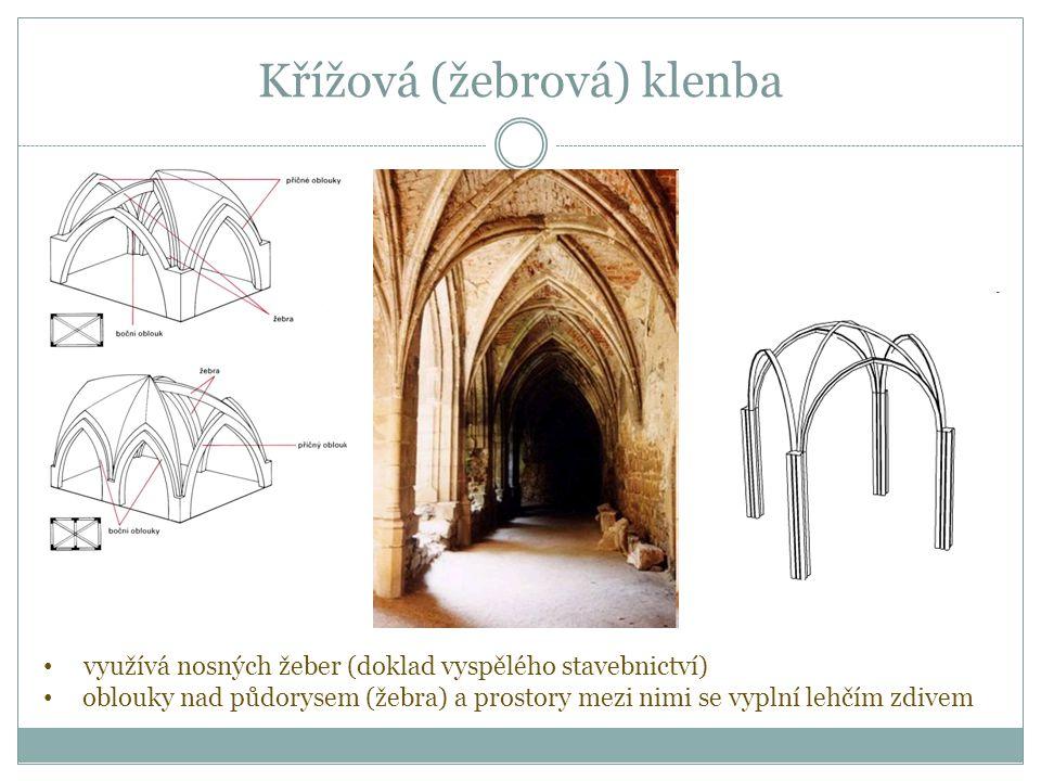 Křížová (žebrová) klenba využívá nosných žeber (doklad vyspělého stavebnictví) oblouky nad půdorysem (žebra) a prostory mezi nimi se vyplní lehčím zdivem