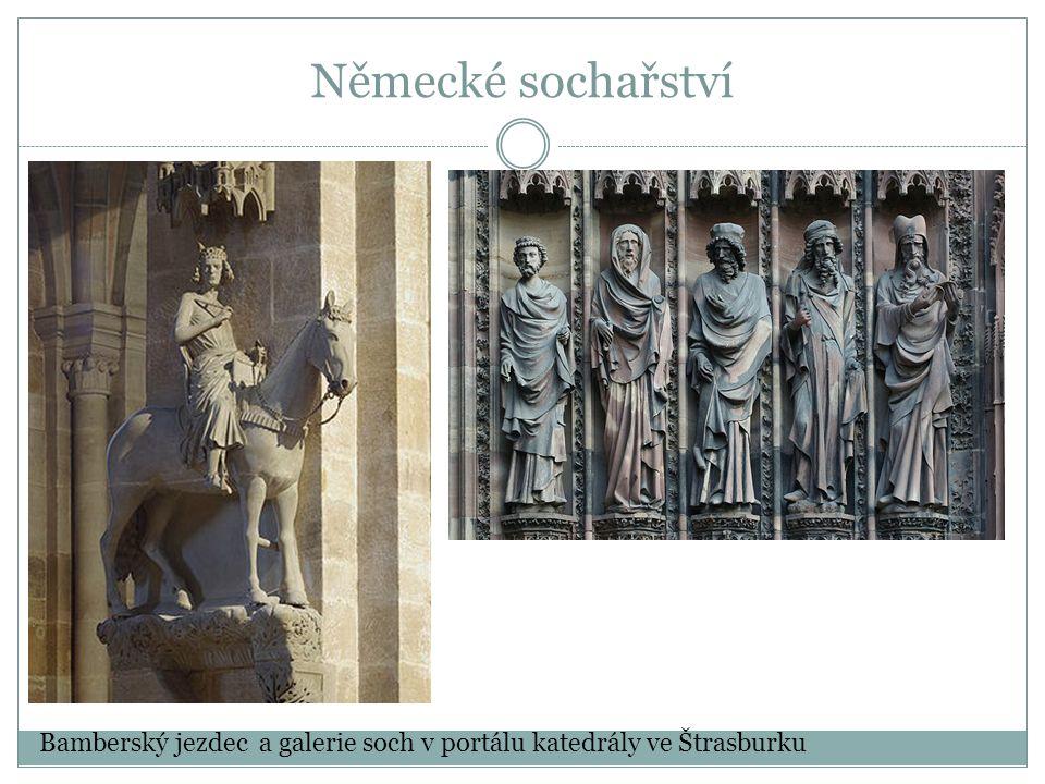 Německé sochařství Bamberský jezdec a galerie soch v portálu katedrály ve Štrasburku
