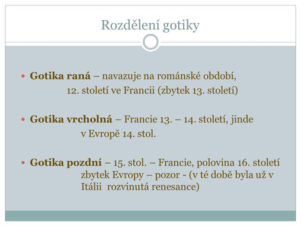 Rozdělení gotiky Gotika raná – navazuje na románské období, 12.