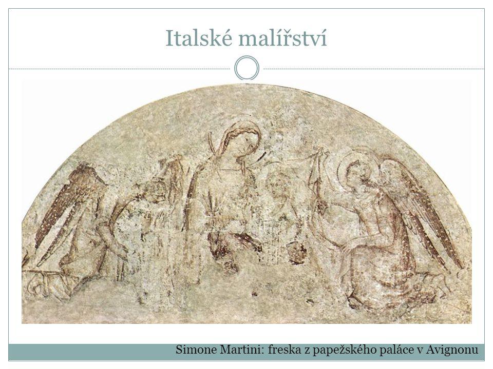 Italské malířství Simone Martini: freska z papežského paláce v Avignonu