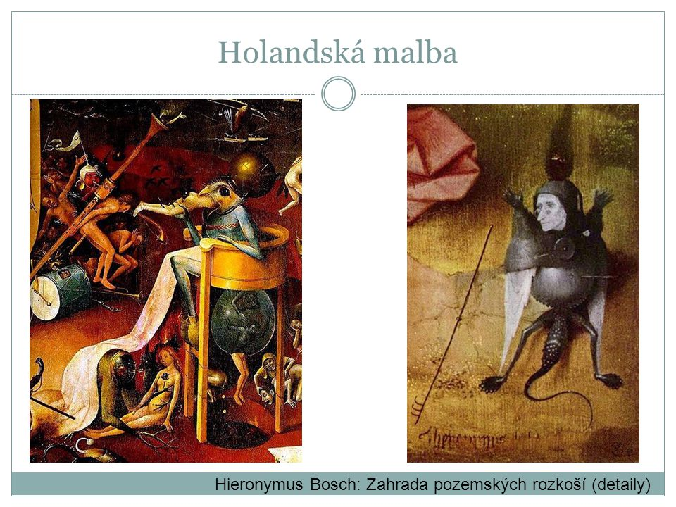 Hieronymus Bosch: Zahrada pozemských rozkoší (detaily) Holandská malba