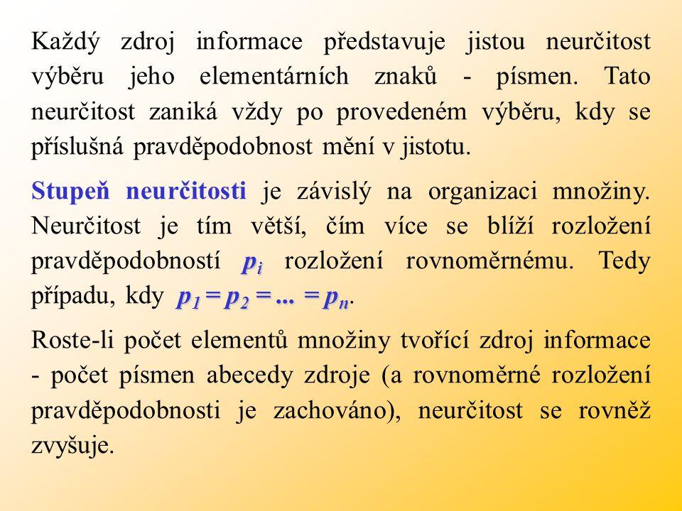 d i p i Každou dílčí zprávu si můžeme představit jako výběr prvků abecedy zdroje d i podle příslušných pravděpodobností p i.