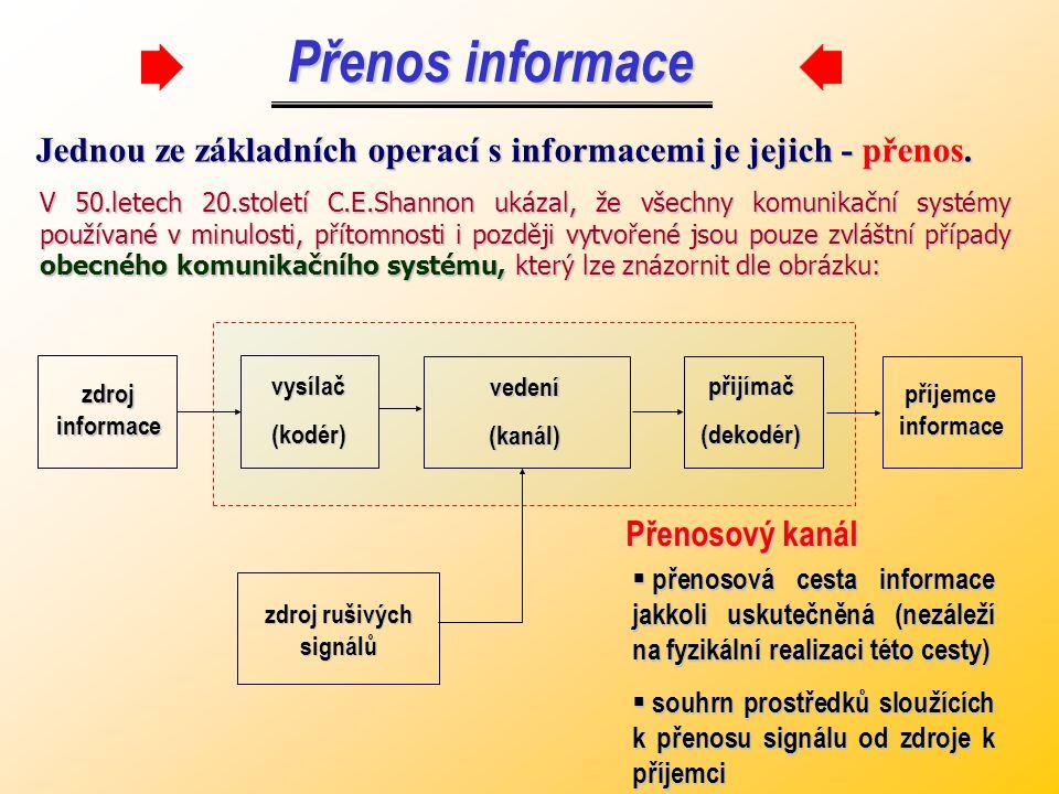 Úkolem teorie informace je, aby přes informační přenosový kanál byla přenesena maximální informace za co nejkratší dobu.