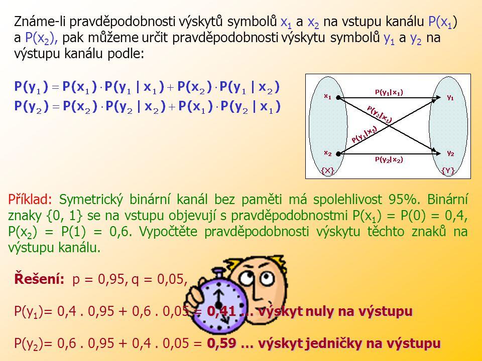 Pravděpodobnosti jsou vázány výrazy: P(y 1 |x 1 )+P(y 2 |x 1 )=1 (vyšleme-li x 1, pak přijmeme buď y 1 nebo y 2 ), P(y 1 |x 2 )+P(y 2 |x 2 )=1(vyšleme-li x 2, pak přijmeme buď y 1 nebo y 2 ).