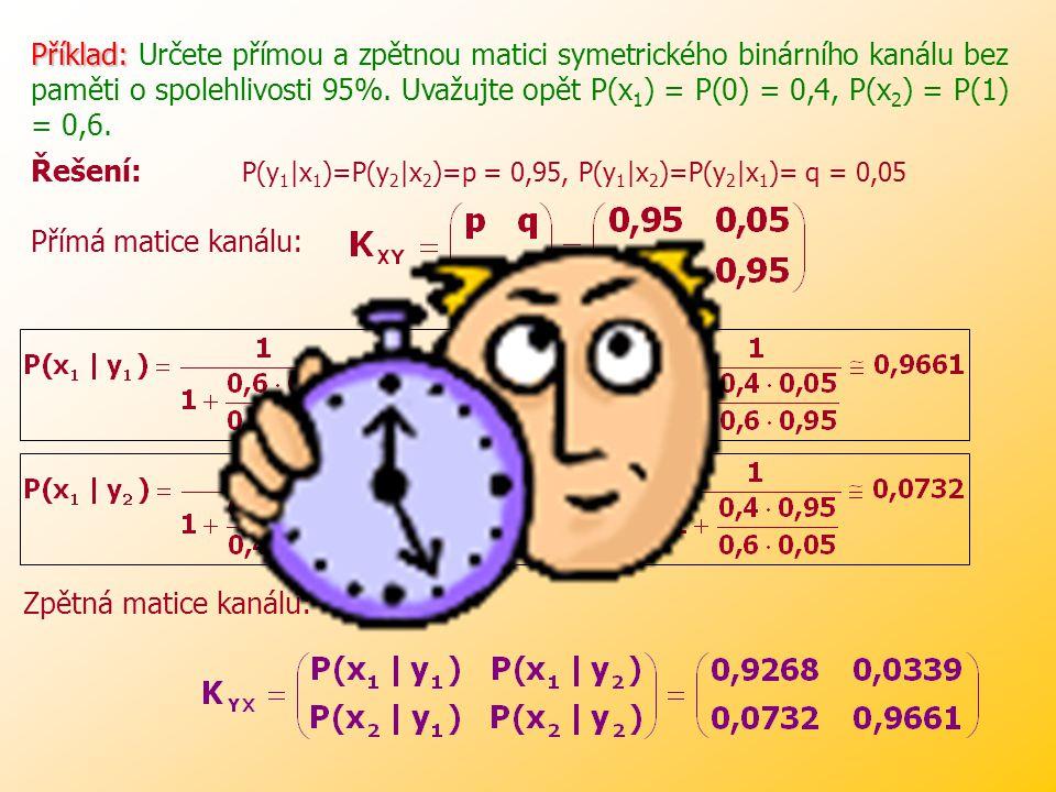 Z těchto pravděpodobností lze pak sestavit (zpětnou) matici kanálu: Prvky této matice (na rozdíl od matice K XY ) už závisí na pravděpodobnostech výskytu znaků na vstupu x 1 a x 2.