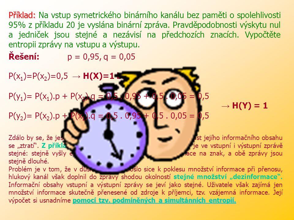 Příklad: Příklad: Určete přímou a zpětnou matici symetrického binárního kanálu bez paměti o spolehlivosti 95%.
