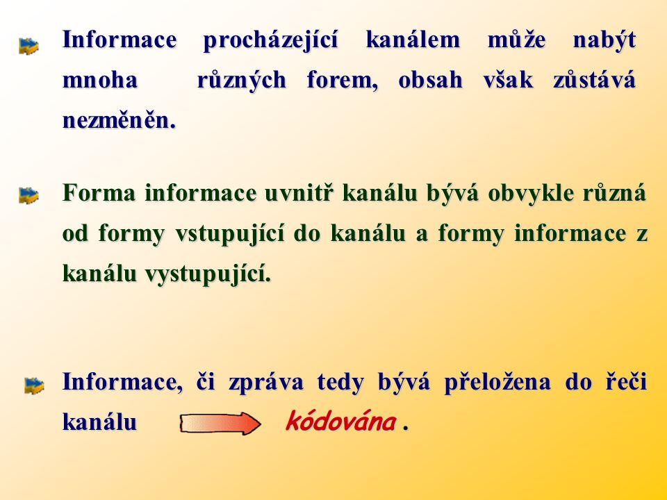 Forma informace uvnitř kanálu bývá obvykle různá od formy vstupující do kanálu a formy informace z kanálu vystupující.