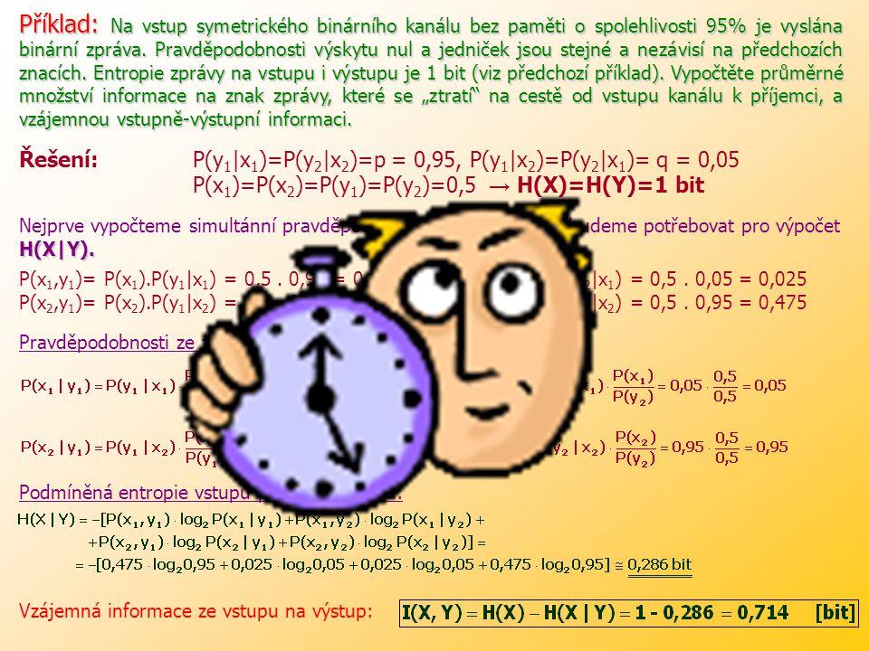 Neurčitost příjemce na výstupu kanálu o tom, co je vysláno do vstupu, je H(X).