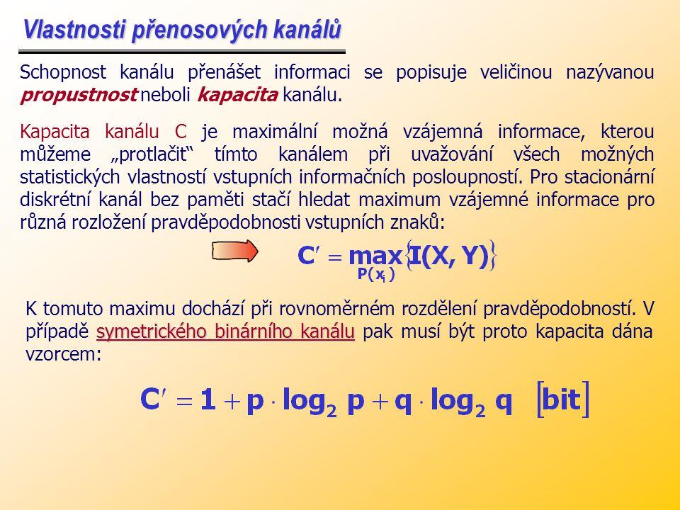 Příklad: Příklad: Vypočtěte entropii na vstupu a výstupu a vzájemnou vstupně-výstupní informaci pro binární symetrický kanál bez paměti o spolehlivosti P, jestliže jedničky a nuly se objevují na vstupu s pravděpodobnostmi: a) stejnými, b) P(1) = 1, P(0) = 0.