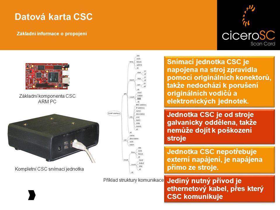 Základní informace o propojení Datová karta CSC Snímací jednotka CSC je napojena na stroj zpravidla pomocí originálních konektorů, takže nedochází k porušení originálních vodičů a elektronických jednotek.