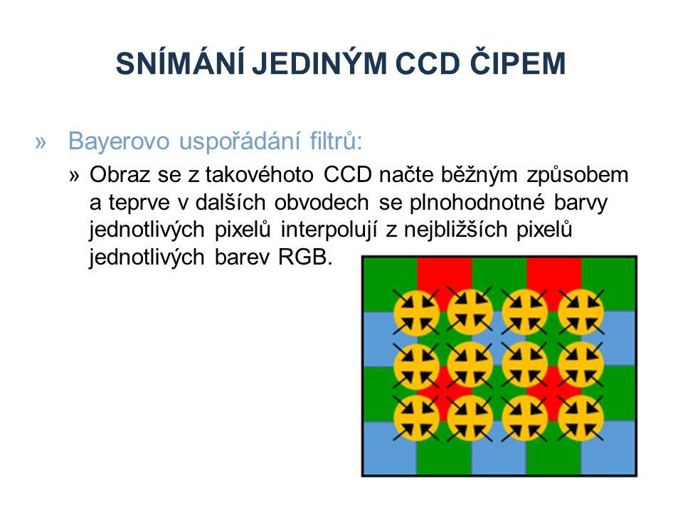 SNÍMÁNÍ JEDINÝM CCD ČIPEM »Bayerovo uspořádání filtrů: »Obraz se z takovéhoto CCD načte běžným způsobem a teprve v dalších obvodech se plnohodnotné barvy jednotlivých pixelů interpolují z nejbližších pixelů jednotlivých barev RGB.