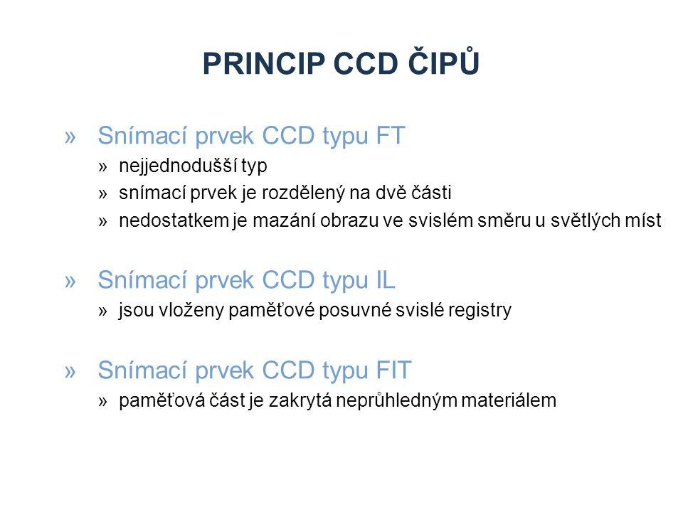 PRINCIP CCD ČIPŮ »Snímací prvek CCD typu FT »nejjednodušší typ »snímací prvek je rozdělený na dvě části »nedostatkem je mazání obrazu ve svislém směru u světlých míst »Snímací prvek CCD typu IL »jsou vloženy paměťové posuvné svislé registry »Snímací prvek CCD typu FIT »paměťová část je zakrytá neprůhledným materiálem