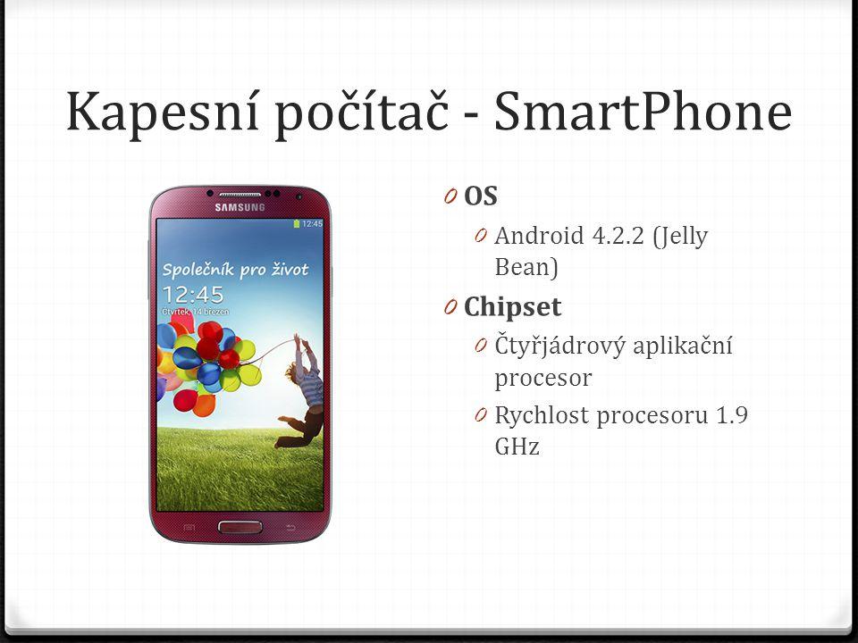 Kapesní počítač - SmartPhone 0 OS 0 Android 4.2.2 (Jelly Bean) 0 Chipset 0 Čtyřjádrový aplikační procesor 0 Rychlost procesoru 1.9 GHz