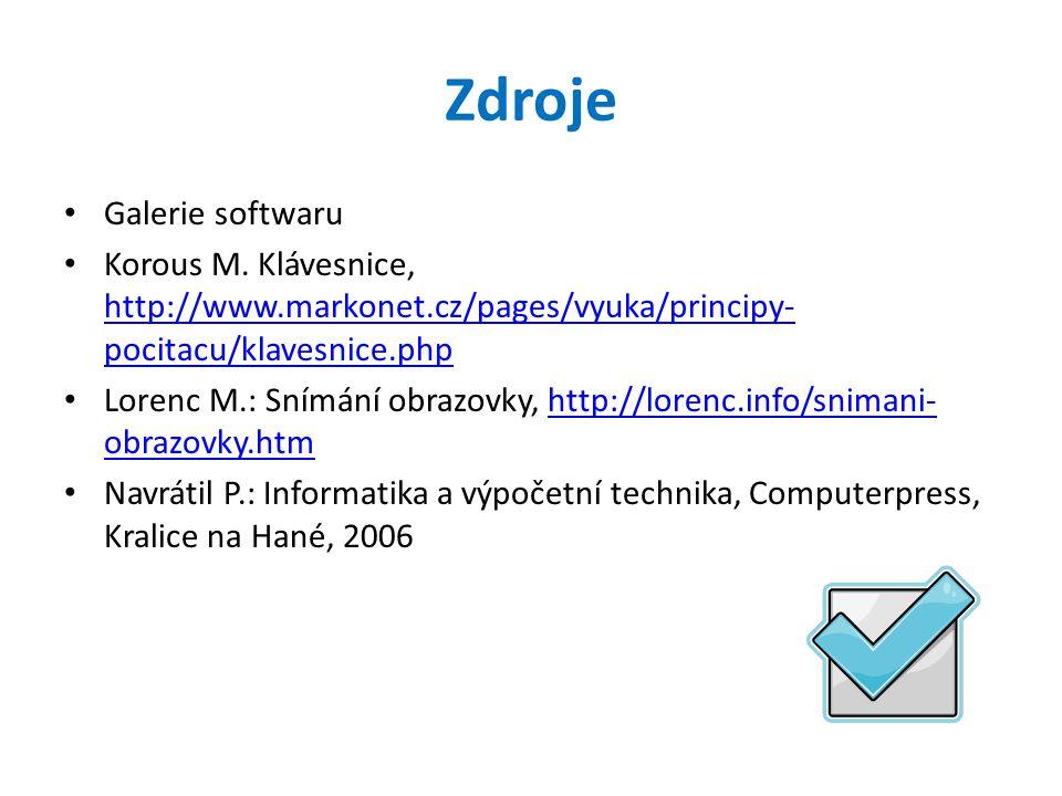 Zdroje Galerie softwaru Korous M.