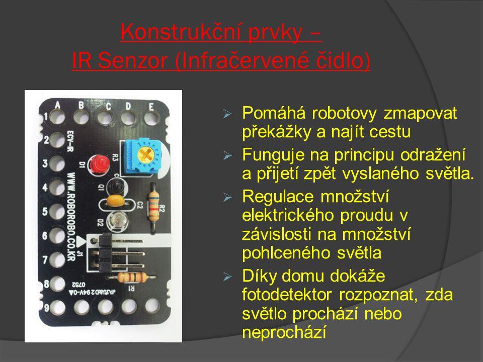 Konstrukční prvky – IR Senzor (Infračervené čidlo)  Pomáhá robotovy zmapovat překážky a najít cestu  Funguje na principu odražení a přijetí zpět vys