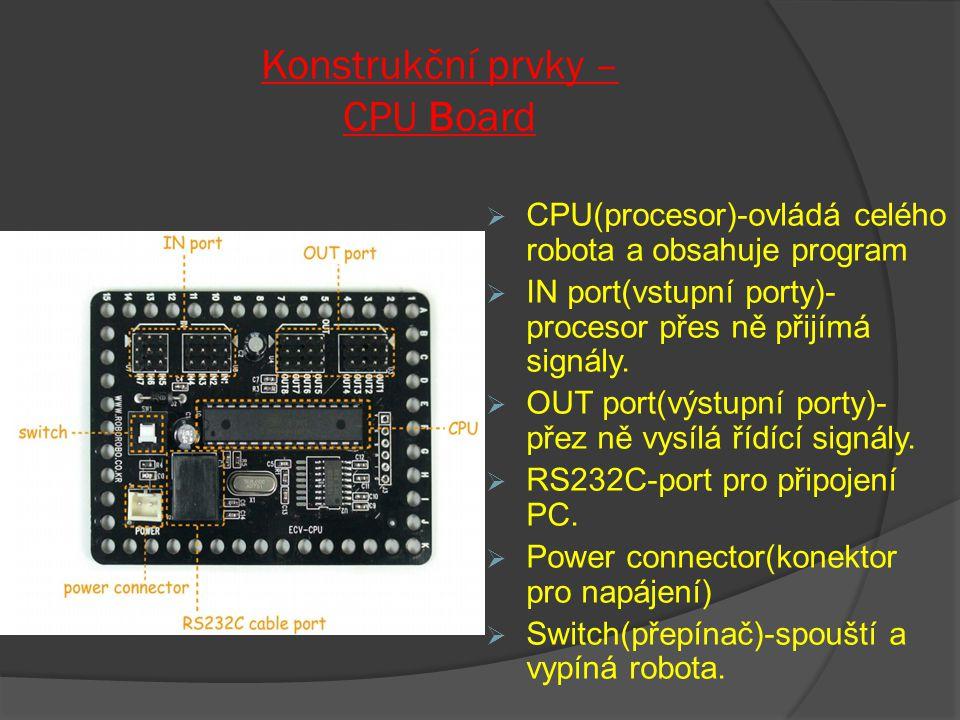 Konstrukční prvky – CPU Board  CPU(procesor)-ovládá celého robota a obsahuje program  IN port(vstupní porty)- procesor přes ně přijímá signály.  OU