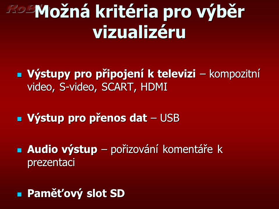 Možná kritéria pro výběr vizualizéru Výstupy pro připojení k televizi – kompozitní video, S-video, SCART, HDMI Výstupy pro připojení k televizi – komp