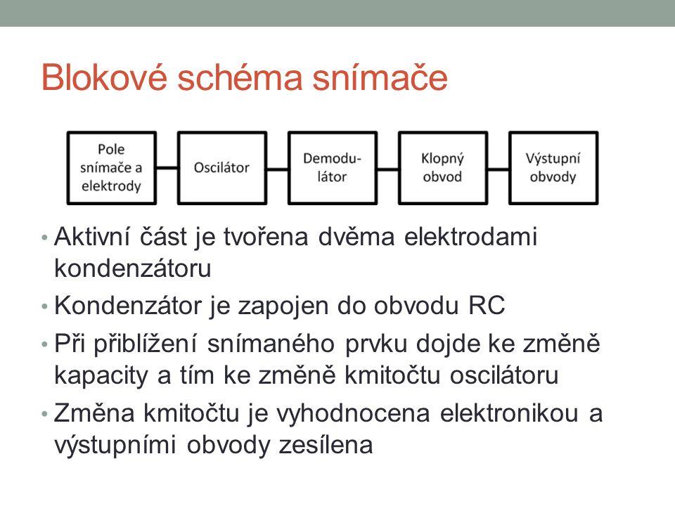 Aktivní část je tvořena dvěma elektrodami kondenzátoru Kondenzátor je zapojen do obvodu RC Při přiblížení snímaného prvku dojde ke změně kapacity a tím ke změně kmitočtu oscilátoru Změna kmitočtu je vyhodnocena elektronikou a výstupními obvody zesílena Blokové schéma snímače