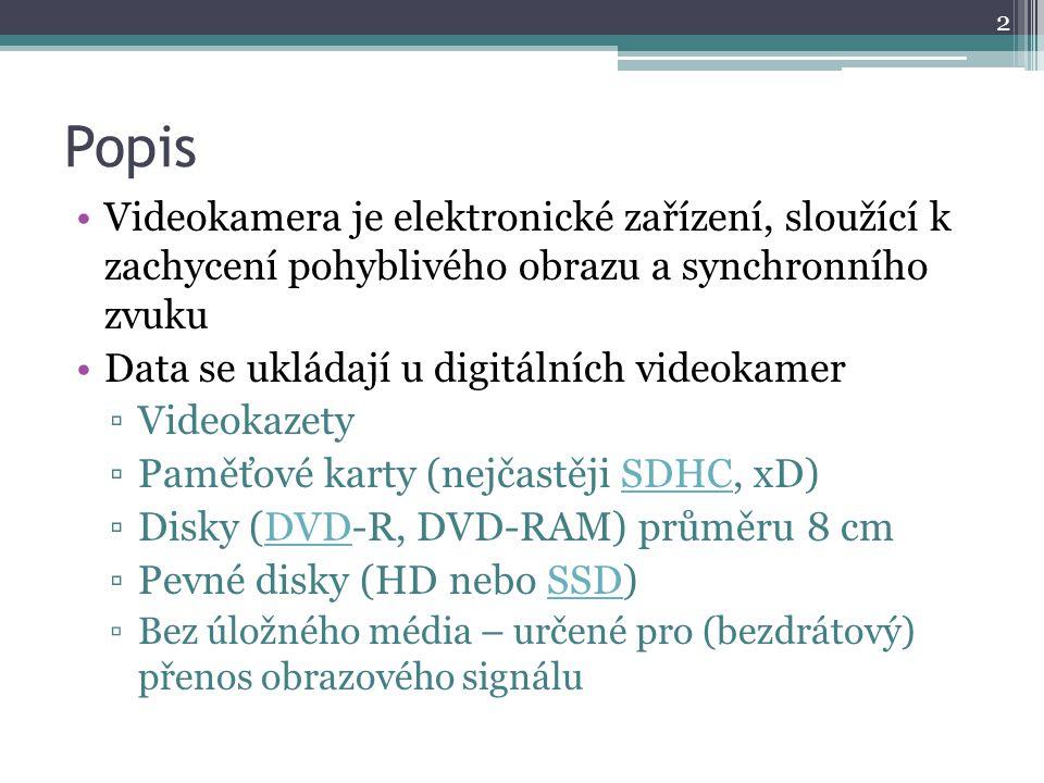 Popis Videokamera je elektronické zařízení, sloužící k zachycení pohyblivého obrazu a synchronního zvuku Data se ukládají u digitálních videokamer ▫Videokazety ▫Paměťové karty (nejčastěji SDHC, xD)SDHC ▫Disky (DVD-R, DVD-RAM) průměru 8 cmDVD ▫Pevné disky (HD nebo SSD)SSD ▫Bez úložného média – určené pro (bezdrátový) přenos obrazového signálu 2